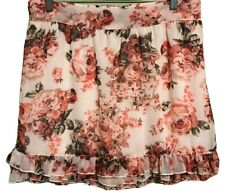 Skirt by Wrapper Pink Roses On White Background Lined, Ruffled Hem, RaRa Skirt L