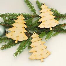 Tannenbaum 10cm 3 St. Holz zum Anhängen am Weihnachtsbaum Advent Fensterdeko