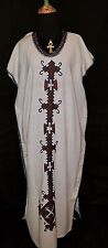 Beige Ethiopia Coffee Buna dress, brown embroidery free size jewelry nt included