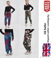 Girls Printed Harem Trousers Pants Kids Leggings Childrens Army & Multi Leopard