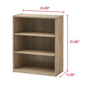 3-Shelf Wood Bookcase Wide Storage Book Display Bookshelf Adjustable Shelving