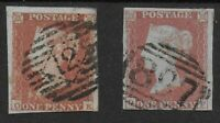 SG8 & 8a. 1841.1d.Red-Brown & Likewise On Very Blue Paper. FU Examples.Ref:0.121