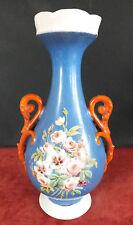 vase ancien porcelaine marque E D bleu anses oranges