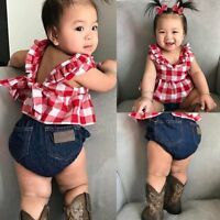 3Pcs Toddler Kids Baby Girls Clothes Dress Tops+Pants Jeans+Headband Outfits Set
