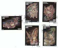 TANZANIA - Bustina 5 francobolli serie ANIMALI, PIPISTRELLI