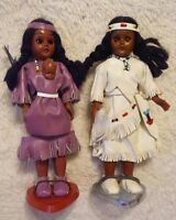 RARE CARLSON Indian Dolls Native American Princess 2 1960s Suede Dress Papoose