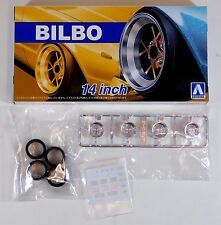 "Aoshima 1/24 Bilbo 14"" Wheel Rims & Tire Set For Plastic Models 5375 (42)"