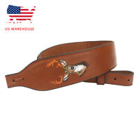 Tourbon Gun Rifle Sling Full Leather w/ Rest Hole Hunting Accessories Gear US