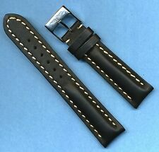 BREITLING BUCKLE & 20mm GENUINE BLACK LEATHER STRAP BAND WHITE STITCHING PADDED
