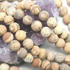 39  pcs 10mm Matte Picture Jasper Round Loose Spacer Gemstone Beads