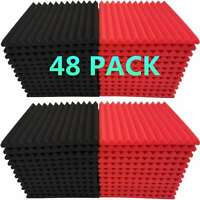 "48 Pack Acoustic Foam Panel Wedge Studio Soundproofing 1"" X 12"" X 12"" Wall Tiles"