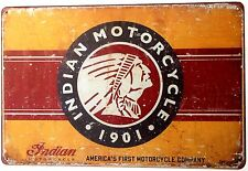 INDIAN MOTORCYCLE EMBLEM  METAL TIN SIGNS vintage cafe pub bar garage shabby