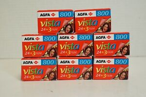 (S) AGFA 800 Vista 27 Exp 24x36 Film Rolls Lot of 8 - Expired