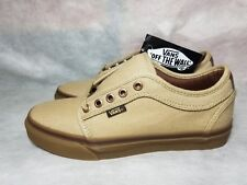 New Vans Chukka Low Pro Gum Brown Canvas Leather Ultra Cush Skate Shoe Men's 7.5