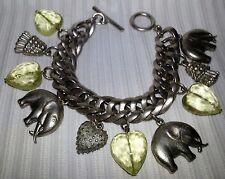 Multi Link Brushed Silver Tone Elephant Tassel Heart Charm Bracelet Jewelry