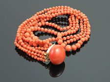 Exceptional Antique c1900 Natural Coral Necklace, 40.4g with Appraisal for $2565