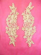 """Embroidered Lace Appliques Gold Floral Venice Lace Mirror Pair 10"""" (DH87)"""