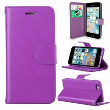 Purple Leather Flip Wallet Slim Case Cover Pouch With Card Holder For Apple SE 5