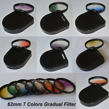62mm 7 Graduated Gradual Red Purple Green Orange Yellow Blue Grey Filter Filters