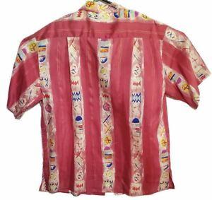 Arnold Zimberg Silk Coral Hawaiian Button Front Shirt L Tags CAMP Starfish Fish