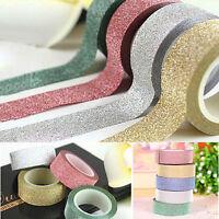 10M Glitter Washi Tape Paper Self Adhesive Stick On Sticky DIY Craft Decorative