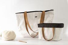 BELIGHT Tyvek Tote hand Bag Waterproof Using Both Sides Simple Leather Handle
