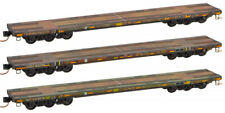 Micro-Trains MTL N-Scale DODX/Army 'Olive Drab' Flat Cars Weathered - 3-Pack