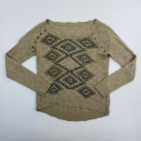 Zara Trafaluc Women's Aztec Western Knit Studded Long Sleeve Shirt Top Ladies M