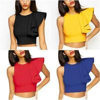 Womens celeb bodycon crop top boutique ruffle towie vest size 8 10 12
