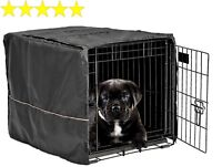 "Dog Crate Pet Cage Kennel COVER Black Quiet Time Breathable 24"" Small"