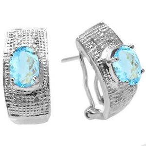 FINE GENUINE DIAMOND & BLUE TOPAZ PLATINUM OVER 925 STERLING SILVER EARRINGS