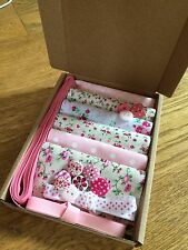 "Patchwork Craft Kit Pretty Pink 4"" Fabric Squares Ribbon Buttons Floral Gift"