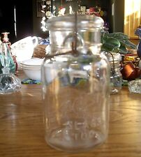 "Vintage Presto Glass Top 7 1/2"" Quart Glass Mason Canning Jar w/ Wire ~"