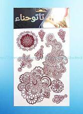 brown henna lace feminine temporary tattoo water transfer waterproof