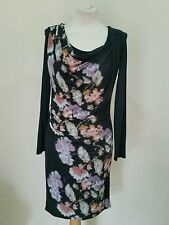 LAURA ASHLEY SIZE 10 BLACK MIX ROUCHED FRONT STRETCHY DRESS BRAND NEW WITH TAGS