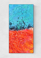 """12"""" x 24"""" Red and Blue Original Fluid Art Acrylic Pour Painting on Canvas"""