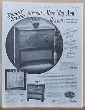 1949 magazine ad for Bendix - radio phonographs in furniture style consoles