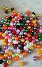 75pcs Mixed colour 6mm acrylic pearl beads.  * UK SELLER *