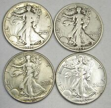US Walking Liberty Silver Half Dollar Coin Lot of 4 1917-1943 AG182