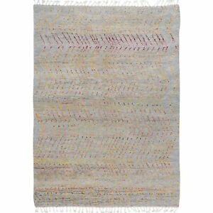 Tribal Chevron Moroccan Gabbeh Oriental Area Rug Hand-Knotted Wool Carpet 5'x8'