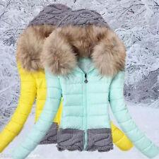 hot women's winter coat fur collar hooded cotton jacket coat jacket stitching