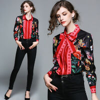 2018 Spring/summer women's fashion temperament bowknot printing shirt top blouse