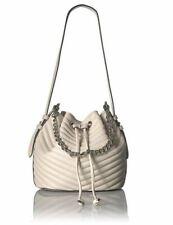 Steve Madden Marge Chevron Quilted Drawstring Bucket Bag, Cream