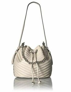 Steve Madden Marge Chevron Quilted Drawstring Bucket Bag, Cream
