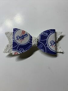 """Los Angeles Dodgers faux leather hair bow 3.5"""" x 1.5"""" custom made"""