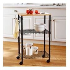 Small Kitchen Cart Rolling Steel Utility Island Storage Shelves Wood Top Stand