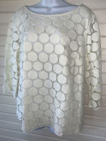 Boden Arabella Lace Top Women's Sz US 18 Ivory Cream Lined Pullover Cotton  EUC