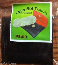 COIN SET POUCH Made from leather & holds 7 HALF DOLLARS OR 4 DOLLAR SIZE coins