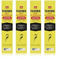 800 count Feather Hi-Stainless Double Edge Platinum Coated Razor Blades-Yellow
