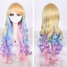 New Long Blonde Purple Pink Curly Wavy Women's Lady's Cosplay Hair Wig Wigs +Cap
